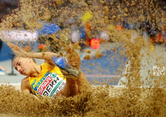 2018 European Championships - Women's Long Jump Final - Olympic Stadium, Berlin, Germany - August 11, 2018 - Maryna Bekh of Ukraine competes. REUTERS/Kai Pfaffenbach TPX IMAGES OF THE DAY