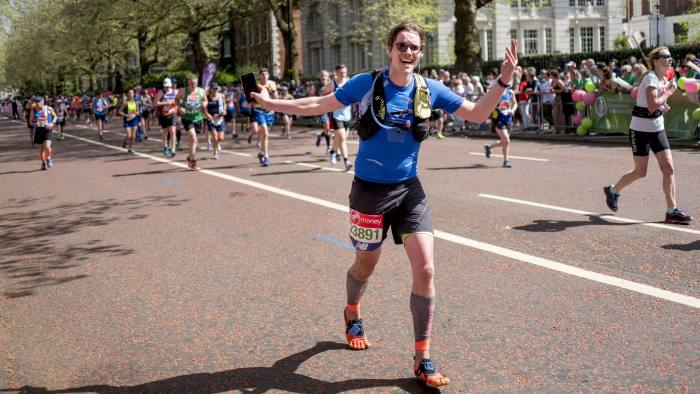 Patrick McGee photographed 600 metres away from the finish line of London Marathon in central London on April 22, 2018.