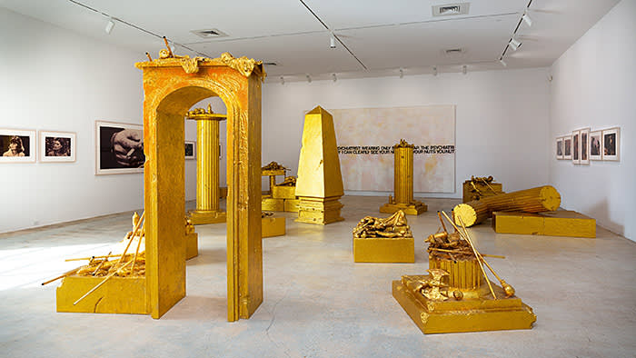 The Rubells photographed for The FT by Melanie Metz at the Rubell Museum, Miami. For the second image: (gold sculptural installation throughout the space): John Miller, A Refusal to Accept Limits, 2007 (left wall, front to back): Richard Prince, Untitled (three women looking in the same direction), 1980 Richard Prince, Untitled (man's hand with cigarette), 1980 Richard Prince, Untitled (Living Rooms), 1977 (back wall): Richard Prince, Nuts, 2000 (right wall, 6 different works, each): Richard Prince, Untitled (cowboy), 1987