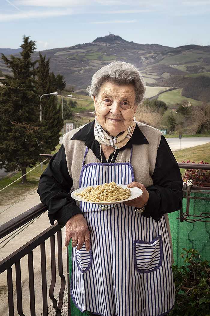 Nonna Peppa, who is famous in her village for making 'pici' – a hand-rolled spaghetti-snake – for the local 'sagra', or fete