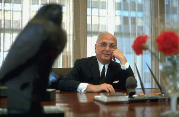 Seagrams founder Sam Bronfman in office, prob. in Seagrams bldg, prob. in New York City. (Photo by Arthur Schatz/The LIFE Images Collection via Getty Images/Getty Images)