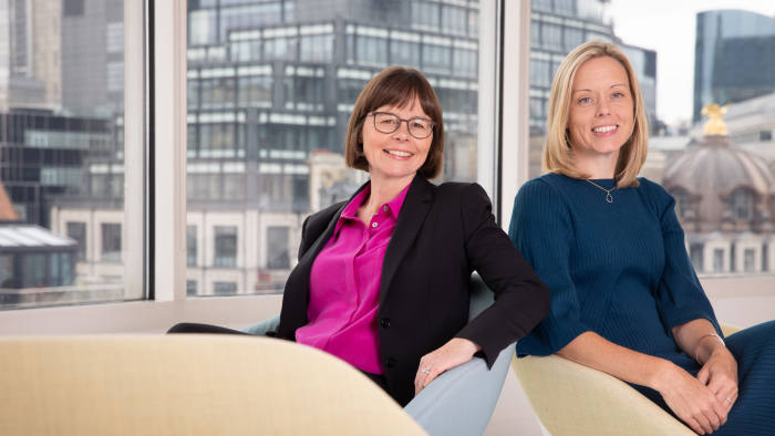 Helen Brown, left, and Julia Hemmings pose in the offices of Baker & McKenzie LLP in London, Sept 16, 2019. Photograph by Suzanne Plunkett This image is copyright Suzanne Plunkett 2019©. For photographic enquiries please call Suzanne Plunkett or email suzanne@suzannelunkett.com This image is copyright Suzanne Plunkett 2019©. This image has been supplied by Suzanne Plunkett and must be credited Suzanne Plunkett. The author is asserting her full Moral rights in relation to the publication of this image. All rights reserved. Rights for onward transmission of any image or file is not granted or implied. Changing or deleting Copyright information is illegal as specified in the Copyright, Design and Patents Act 1988. If you are in any way unsure of your right to publish this image please contact Suzanne Plunkett on +44(0)7990562378 or email suzanne@suzanneplunkett.com