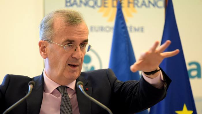 Governor of the Banque de France (French central bank) Francois Villeroy de Galhau speaks during a press conference to present the 2018 French Central Bank's results at the bank headquarters in Paris on March 12, 2019. (Photo by ERIC PIERMONT / AFP)ERIC PIERMONT/AFP/Getty Images