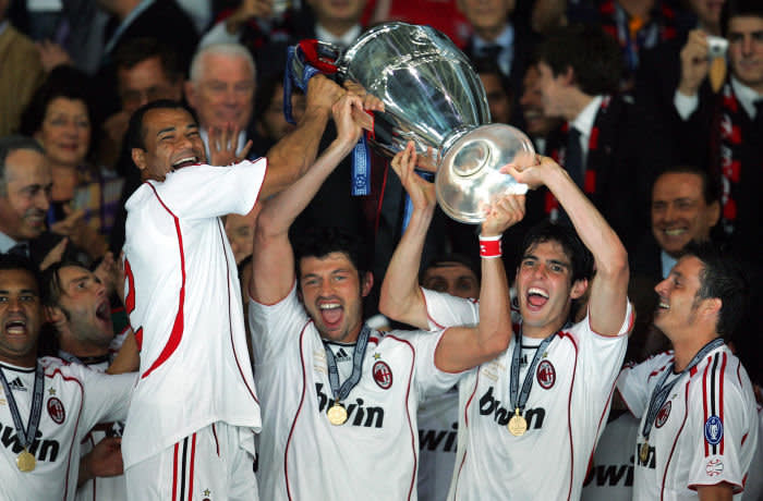 ATHENS, GREECE - MAY 23: Kaka of AC Milan (second right) celebrates with the European Cup and his teammates following the UEFA Champions League Final match between Liverpool and AC Milan at the Olympic Stadium in Athens, Greece on May 23, 2007. AC Milan won 2-1. (Photo by Popperfoto via Getty Images/Getty Images)