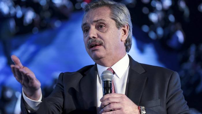 Alberto Fernandez, presidential candidate for the Citizen's Unity Party, speaks during an event in Buenos Aires, Argentina, on Monday, July 29, 2019. Fernandez said Sunday that, if elected, his government would stop paying interest on central bank notes known as Leliq, which are used to implement monetary policy. Photographer: Sarah Pabst/ Bloomberg