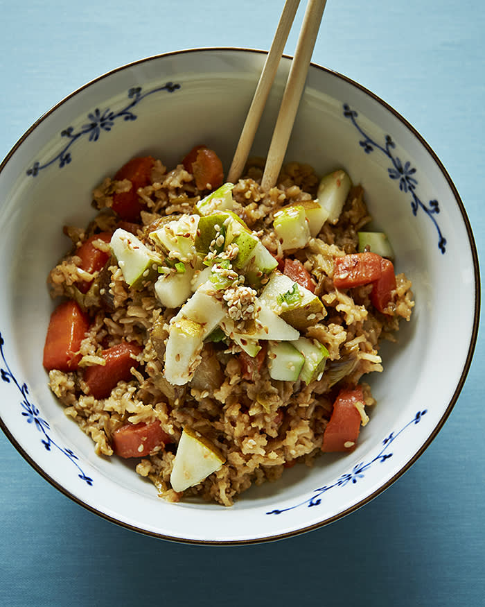 Rice bowl with sesame, miso and pears — a Honey & Co recipe
