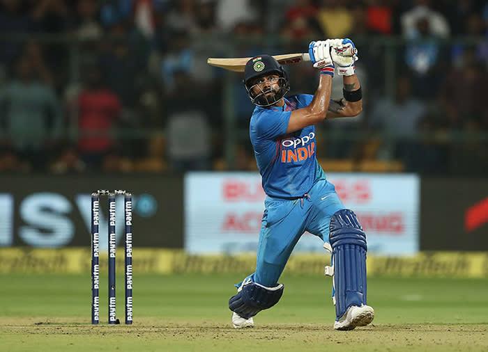 'A vision of caffeinated fury': Virat Kohli bats during game two of the T20I Series against Australia, February 27, Bangalore