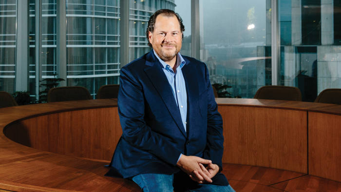 Salesforce CEO founder Marc Benioff in San Francisco on January 10, 2018. Jason Henry for FT