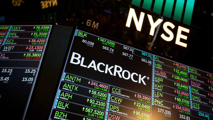 A monitor displays BlackRock Inc. signage on the floor of the New York Stock Exchange (NYSE) in New York, U.S., on Tuesday, Jan. 16, 2018. The Dow Jones Industrial Average plowed past 26,000 as optimism over corporate earnings turbocharged the equity bull market. Photographer: Michael Nagle/Bloomberg