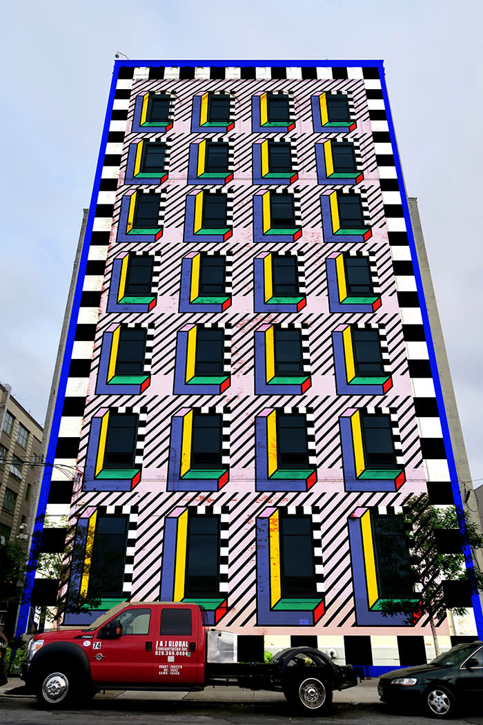 WantedDesign has commissioned Walala to permanently reinvent the façade of a seven-storey historic building in Brooklyn's Industry City creative hub. At 40m high, the project will be both her biggest New York commission and her tallest building to date. (C) WantedDesign 2018 x Camille Walala.