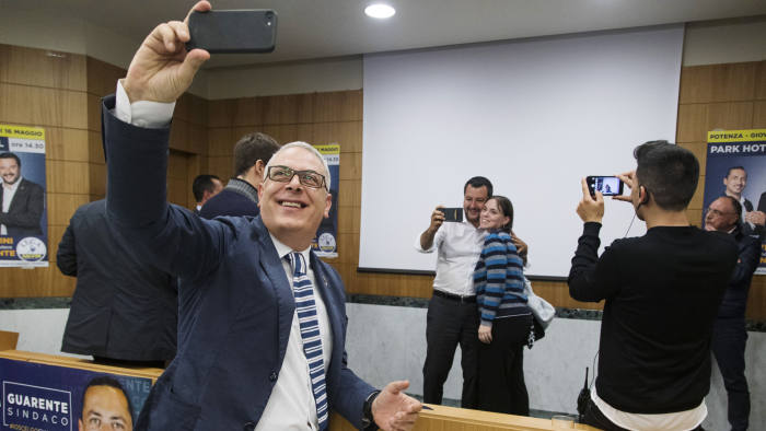 Potenza, Park Hotel congress centre, May 2019. Matteo Salvini, Italian Interior Minister and leader of the Lega Party taking selfies with his supporters after a rally ahead of the European elections.