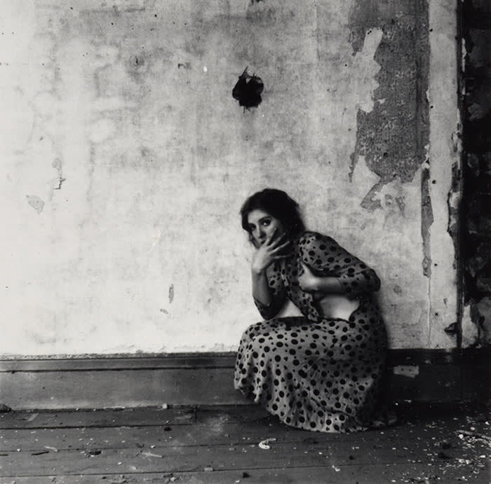 Francesca Woodman, 1958-1981 From Polka Dots, Providence, Rhode Island 1976 Gelatin silver print 141 x 140 mm ARTIST ROOMS Acquired jointly with the National Galleries of Scotland through The d'Offay Donation with assistance from the National Heritage Memorial Fund and the Art Fund 2008 © From the series 'Polka Dots, Providence, Rhode Island' by Francesca Woodman (1976)