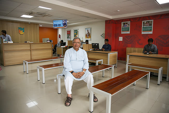 Samik Ghosh poses for a photograph inside the Koramangala branch of Ujjivan bank in Bangalore, India. Ghosh founded Ujjivan in 2005 with the mission to create an institution providing financial services to the unserved and underserved. Ujjivan became a small finance bank in 2017 with over 480 branches and 700,000 bank accounts in both semi-urban and rural areas.