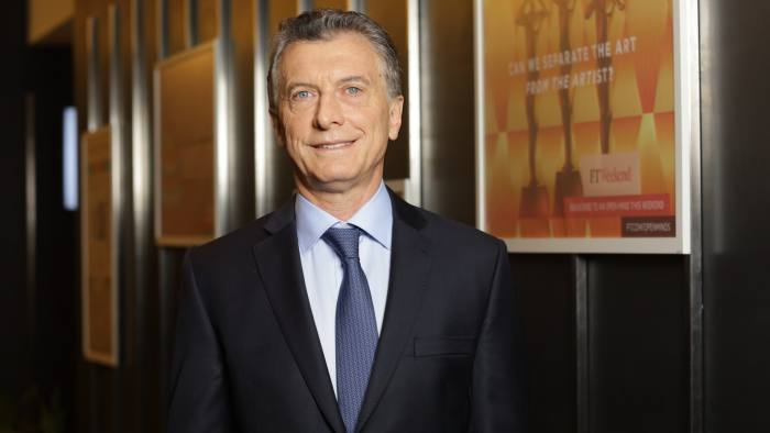 President of Argentina Mauricio Macri at the FT New York offices on Monday 24th September 2018