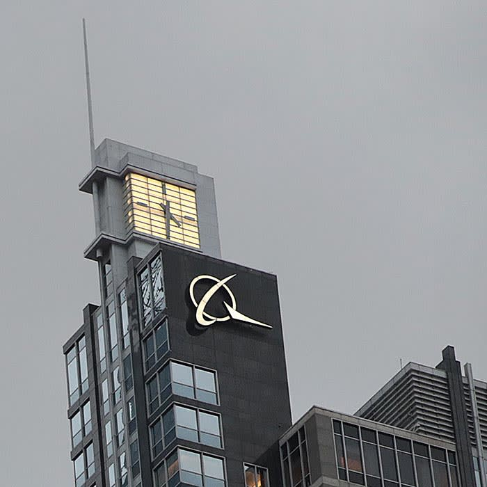 CHICAGO, ILLINOIS - JANUARY 29: The company logo sits atop the headquarters of The Boeing Company on January 29, 2020 in Chicago, Illinois. Boeing said today that costs associated with grounding the 737 Max aircraft were likely to exceed $18 billion. (Photo by Scott Olson/Getty Images)