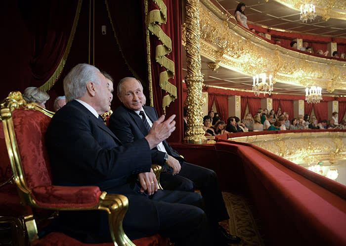 Russian President Vladimir Putin (C) and Brazil's President Michel Temer (L) speak as they attend the concert by the winners of the XIII International Ballet Competition and Contest of Choreographers at The Bolshoi Theatre in Moscow on June 20, 2017. / AFP PHOTO / Sputnik / Alexei Druzhinin (Photo credit should read ALEXEI DRUZHININ/AFP/Getty Images)