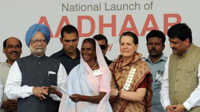 Sept 29 2010: First Aadhaar card issued to Ranjana Sonawne, a villager in the western state of Maharashtra. Ranjana Sonawne receiving her aadhaar card at the national launch where the first aadhaar card was presented by PM Manmohan Singh and Sonia Gandhi - Source : Press Information Bureau, Government of India