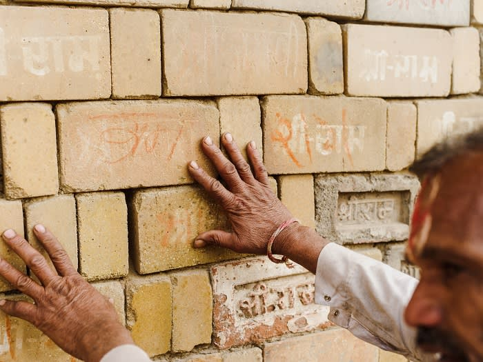 Many of right wing of activists who demolished the old mosque Babri Masjid in 1992 carried with them bricks inscribed with name of Ram in the hope they would be used for the eventual temple. These are now on display at the temple workshop run the right wing Vishwa Hindu Parishad (VHP).
