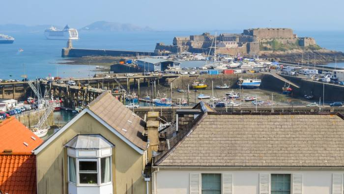 View of harbor Saint Peter Port. Saint Peter Port is capital of Bailiwick of Guernsey, Channel Islands.