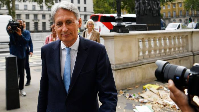 Mandatory Credit: Photo by NEIL HALL/EPA-EFE/Shutterstock (10377967e) Conservative MP Phillip Hammond arrives at the cabinet office in London, Britain, 03 September 2019. Britain's Prime Minister Boris Johnson faces a vote in parliament from Tory rebels who are to join Labour in bringing forward a bill designed to stop the UK leaving the EU on 31 October without an agreement. Johnson faces vote in Parliament, London, United Kingdom - 03 Sep 2019