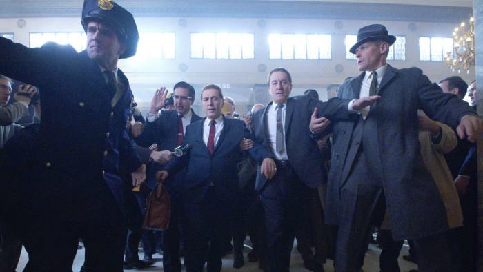 Centre, from left: Ray Romano (Bill Bufalino), Al Pacino (Jimmy Hoffa) and Robert De Niro (Frank Sheeran)