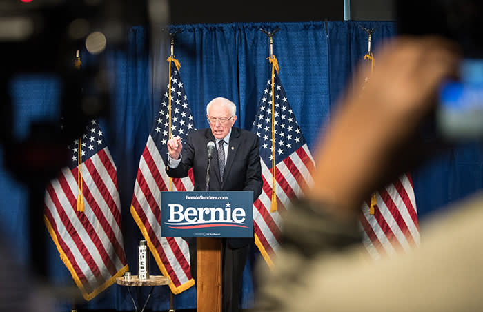 Bernie Sanders yesterday told the press he was staying in the race despite setbacks in the latest primaries and was looking forward to Sunday's debate with rival Joe Biden