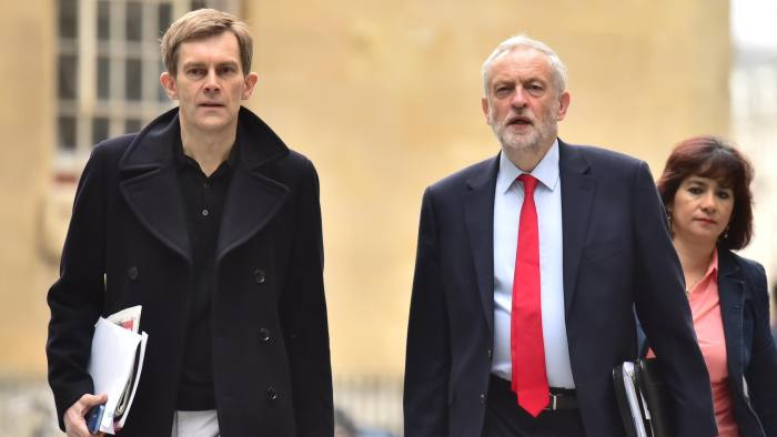Labour leader Jeremy Corbyn arrives with his wife Laura Alvarez and senior aide Seumas Milne at Broadcasting House in central London to appear on the BBC1 current affairs programme, The Andrew Marr Show.