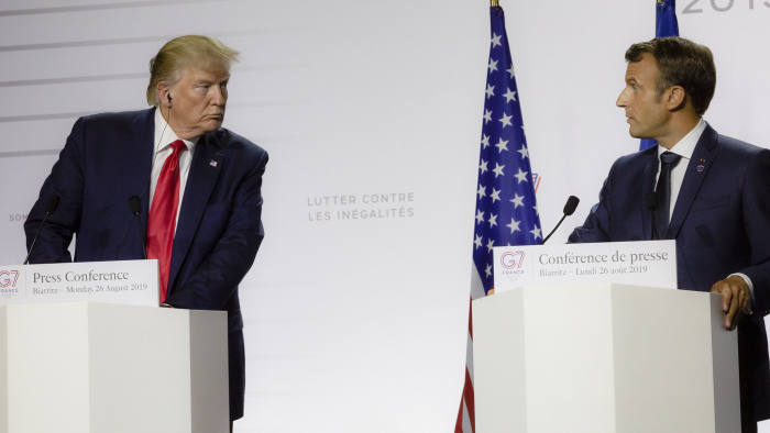 Donald Trump (L), President of the USA, and Emmanuel Macron, President of France during the final press conference of the G7 Summit on 26 August 2019, in Biarritz, France. Macron said that the conditions were created for a meeting between Trump and Iranian President Ruhani. The summit will take place from 24 to 26 August in Biarritz. (Photo by Rita Franca/NurPhoto via Getty Images)