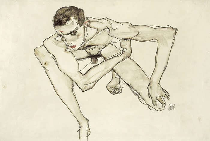 Egon Schiele, 1890-1918 Self-Portrait in Crouching Position 1913 Gouache and graphite on paper 323 x 475 mm Moderna Museet / Stockholm Photo: Moderna Museet / Stockholm