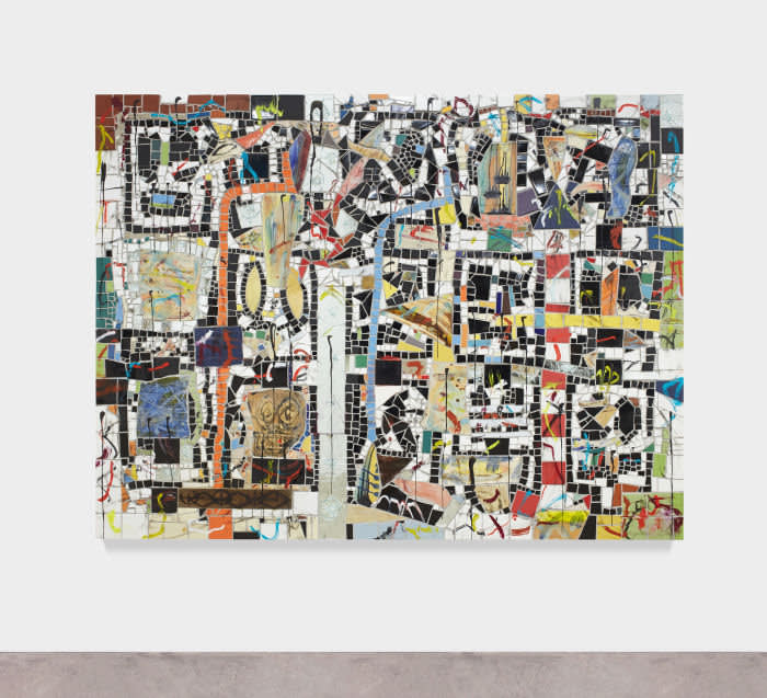 USD 475,000.00 JOHNR101333 Rashid Johnson Untitled Broken Crowd 2019 Ceramic tile, mirror tile, bronze, spray enamel, branded red oak flooring, oil stick, blacksoap, wax191.8 x 241.3 x 7.6 cm / 75 1/2 x 95 x 3 in