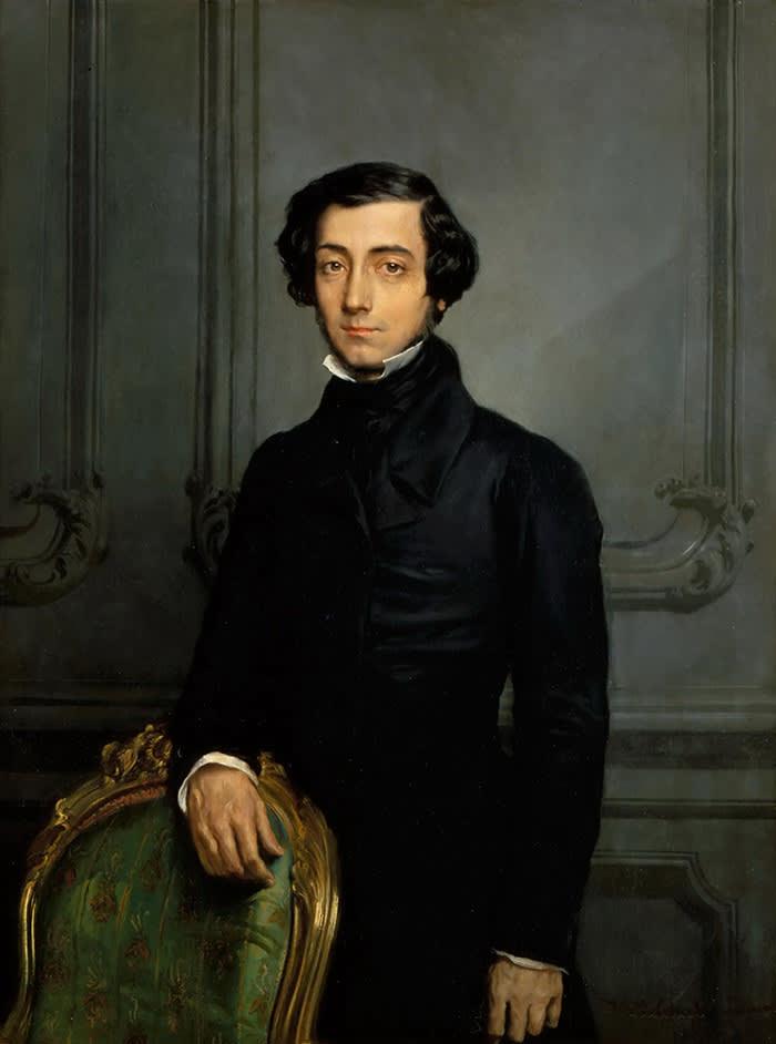 E8F5E2 Portrait of Alexis de Tocqueville (1805-1859). Artist: Chasseriau, Theodore (1819-1856)