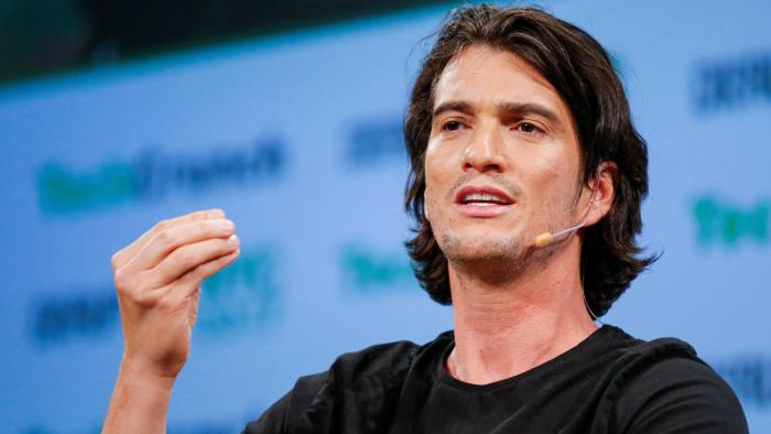 Adam Neumann, CEO of WeWork, speaks to guests during the TechCrunch Disrupt event in Manhattan, in New York City, NY, U.S. May 15, 2017. REUTERS/Eduardo Munoz - RC1797D4F8D0