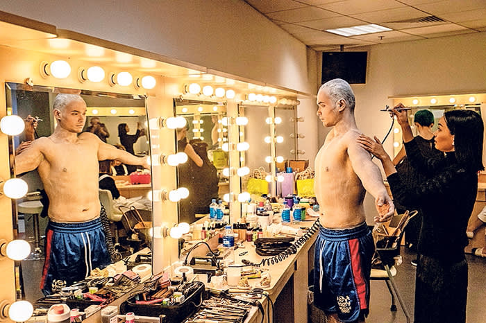 Beijing August 15th, 2018 The Chinese actor Refayili getting his make up for his part as a Spirit for a Chinese production of Shakespeare's The Tempest played at the National Centre for Performing Arts. Gilles SabriÈ for The Financial Times