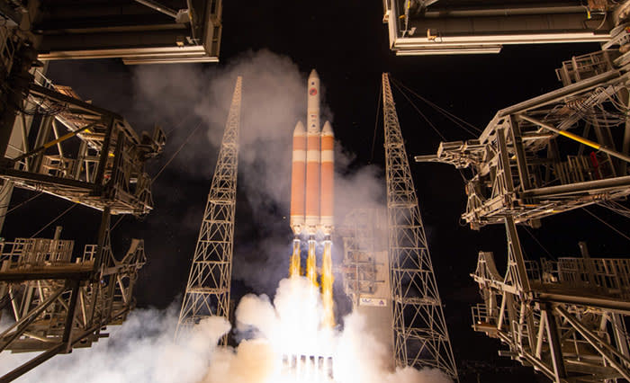 "TOPSHOT - This handout photo released by NASA shows the United Launch Alliance Delta IV Heavy rocket with the Parker Solar Probe onboard during its launch on August 12, 2018, Launch Complex 37 at Cape Canaveral Air Force Station in Florida. - NASA postponed until August 12, 2018, the launch of the first ever spacecraft to fly directly toward the Sun on a mission to plunge into our star's sizzling atmosphere and unlock its mysteries. The reason for the delay was not immediately clear, but was called for after a gaseous helium alarm was sounded in the last moments before liftoff, officials said. (Photo by Bill INGALLS / NASA / AFP) / RESTRICTED TO EDITORIAL USE - MANDATORY CREDIT ""AFP PHOTO / NASA / BILL INGALLS "" - NO MARKETING NO ADVERTISING CAMPAIGNS - DISTRIBUTED AS A SERVICE TO CLIENTSBILL INGALLS/AFP/Getty Images"