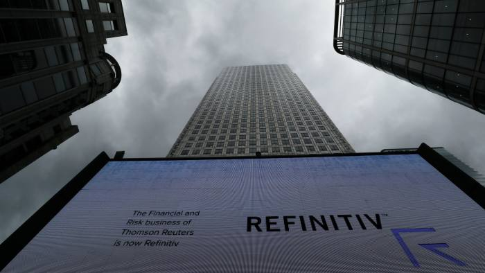 FILE PHOTO: An advertisement for Refinitiv is seen on a screen in London's Canary Wharf financial centre, London, Britain, October 2, 2018. REUTERS/Russell Boyce/File Photo