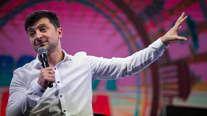 Volodymyr Zelenskiy, a comedian, performs during an event in Brovary, Ukraine, on Friday, March 29, 2019. Ukraine votes on Sunday in the first round of its presidential election. Photographer: Taylor Weidman/Bloomberg