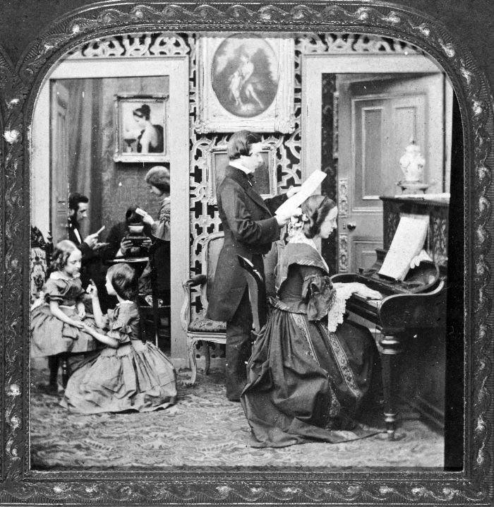 Victorian family scene, 19th century. (Photo by Museum of London/Heritage Images/Getty Images)