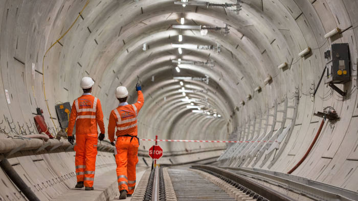 File photo dated 26/10/18 of Crossrail engineers inspecting completed tracks. Up to £30 million per week is being spent on the delayed Crossrail project, it has emerged. PRESS ASSOCIATION Photo. Issue date: Friday January 25, 2019. See PA story TRANSPORT Crossrail. Photo credit should read: Dominic Lipinski/PA Wire
