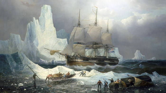 ARCTIC SEA, CANADA - 1845 - Etching of the the ill-fated HMS Erebus (pictured) in the Arctic Sea of Canada on the doomed 1845 Royal Navy Arctic Expedition to find the Northwest Passage. Led by Sir John Franklin, the two ships of the expedition became stuck in the ice and 129 members of the expedition died. New evidence uncovered by a team of academics from the University of Michigan led by dentistry professor Dr Russell Taichman reveals that many of the crew appear to have died of Addison's disease, ending a mystery that has been the subject of speculation for over a century and a half . Photo by Alamy