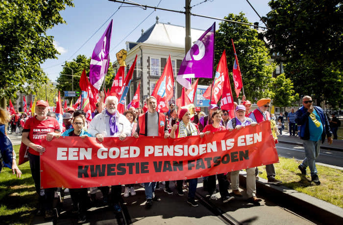 Mandatory Credit: Photo by KOEN VAN WEEL/EPA-EFE/REX/Shutterstock (10255669a) Activists take part in a demonstration asking for better pensions in The Hague, The Netherlands, 29 May 2019. Trade unions CNV, FNV and VCP called for a large-scale strike to reinforce their pension wishes. Sign in picture reading 'A good pension is a matter of decency.' Activists demonstrate for better pensions, The Hague, Netherlands - 29 May 2019