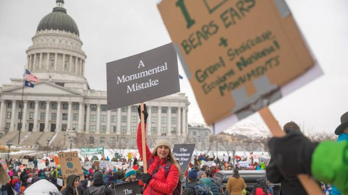 Caroline Gleich - a Patagonia snow ambassador at the Bears Ears protest, Utah State Capitol , Salt Lake City, UT, 2018. MUST credit - Andrew Burr / Patagonia DO NOT RE-USE WITHOUT PERMISSION