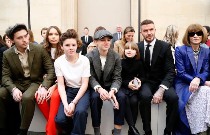 Mandatory Credit: Photo by WWD/REX/Shutterstock (10107639a) Brooklyn Beckham, Hana Cross, Cruz Beckham, Romeo Beckham, Harper Beckham, David Beckham and Anna Wintour in the front row Victoria Beckham show, Front Row, Fall Winter 2019, London Fashion Week, UK - 17 Feb 2019