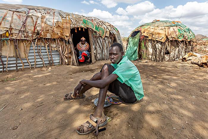 2AW983A Samburu man in the village, Kenya.