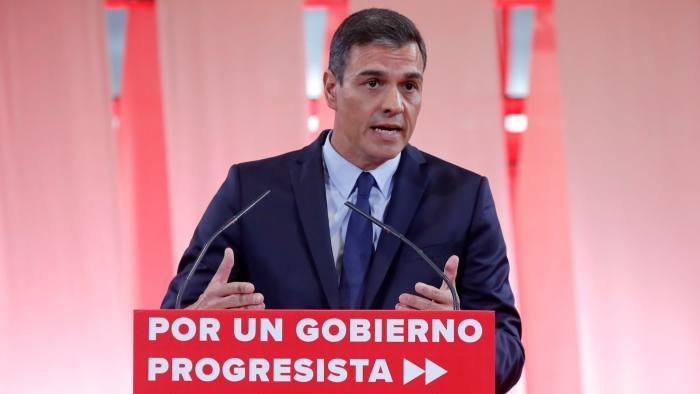 Mandatory Credit: Photo by Chema Moya/EPA-EFE/Shutterstock (10378036a) Spanish Prime Minister, Pedro Sanchez, presents the socialist program for a progressive Government in Madrid, Spain, 03 September 2019. Sanchez presented the program to obtain enough votes from other political parties at Parliament to be invested Prime Minister later this month. Spain will be holding elections 10 November 2019 if Sanchez fails to obtain enough support for a new investiture in September. Spanish PM presents program for a new Government, Madrid, Spain - 03 Sep 2019