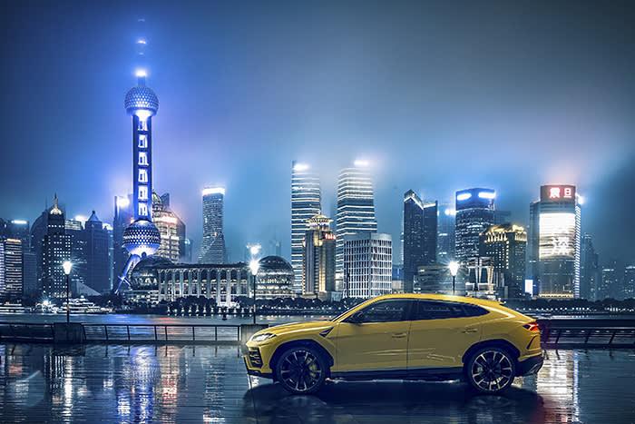 Lamborghini's Urus SUV against a backdrop of Shanghai