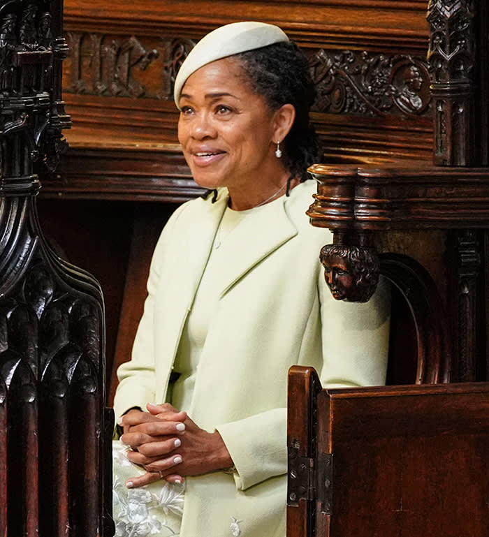 WINDSOR, UNITED KINGDOM - MAY 19: Doria Ragland takes her seat in St George's Chapel at Windsor Castle before the wedding of Prince Harry to Meghan Markle on May 19, 2018 in Windsor, England. (Photo by Dominic Lipinski - WPA Pool/Getty Images)