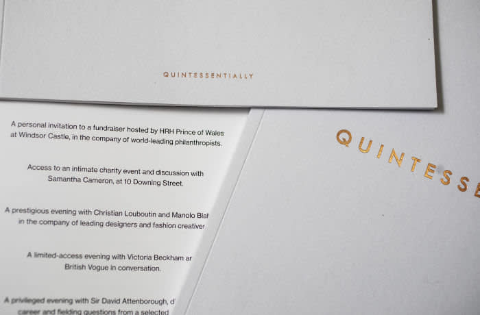 13/02/2020 Quintessentially material for Chris Batson. Event guides and brochures.