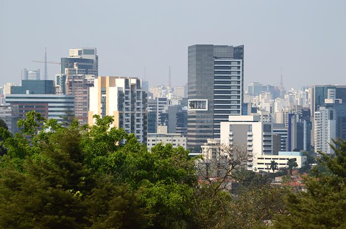 P40B48 Vista dos arranha-ceus da Marginal Pinheiros e do bairro de Pinheiros. Sao Paulo/SP. Foto Arena LTDA / Alamy