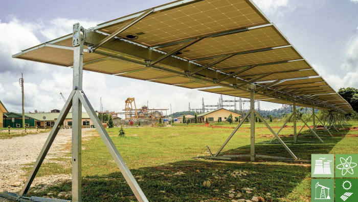 Solar tracker installed at Newmont's Akyem mine operation in Ghana Press image