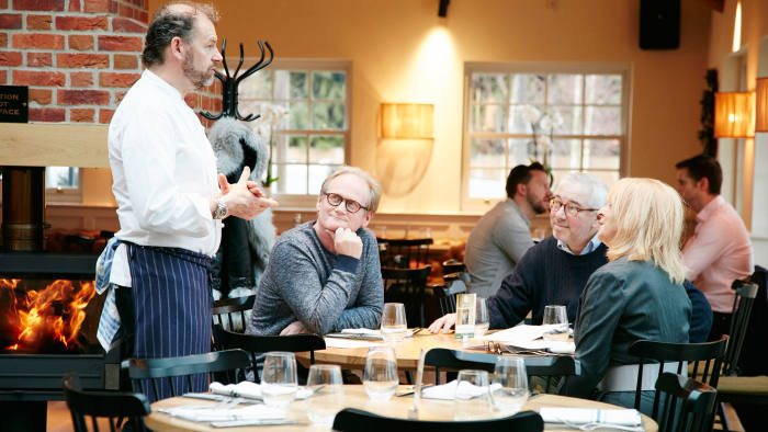 Chris Galvin talks to diners at the Green Man
